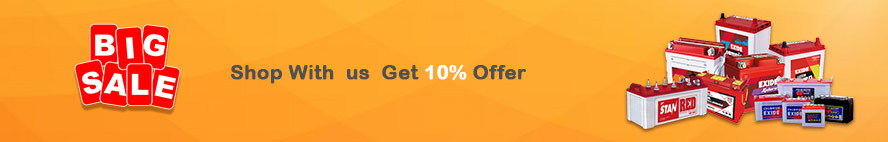 Shop with exide and get 10% offer